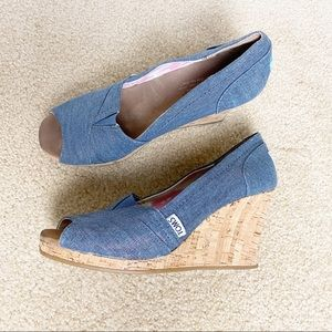 Toms Chambray Peep Toe Wedge